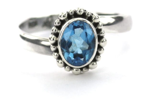 Indiri Collection PADMA Oval Swiss Blue Topaz Beaded Adjustable Ring