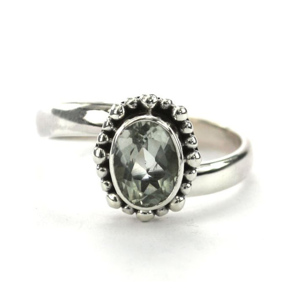 Indiri Collection Sterling Silver Bali Oval Green Amethyst Adjustable Ring