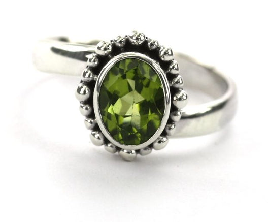 Indiri Collection PADMA Oval Peridot Beaded Adjustable Ring
