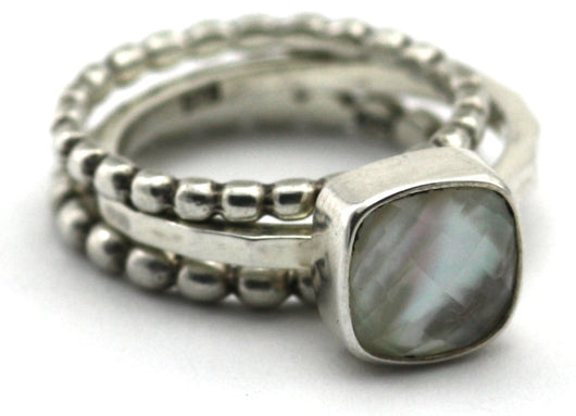 Indiri Collection PADMA Mother of Pearl Stackable Ring Set