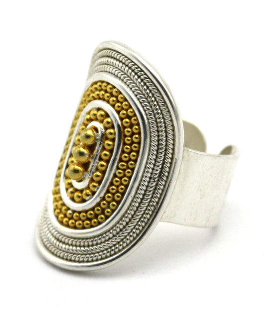 Indiri Collection RAYA 18K Gold Vermeil Beaded Cigar Band Adjustable Ring