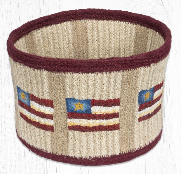 "Capitol Earth Rugs Primitive Star Flag Round Natural Rope Basket, 9"" x 7"""