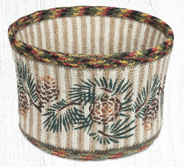 "Capitiol Earth Rugs Pinecone B Round Natural Rope Basket, 9"" x 7"""