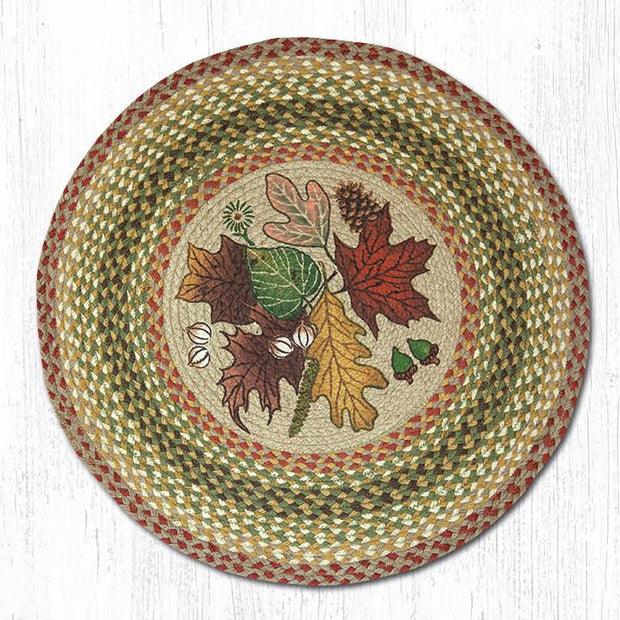 "Capitol Earth Rugs Autumn Leaves Round Patch Rug, 27"" Round"
