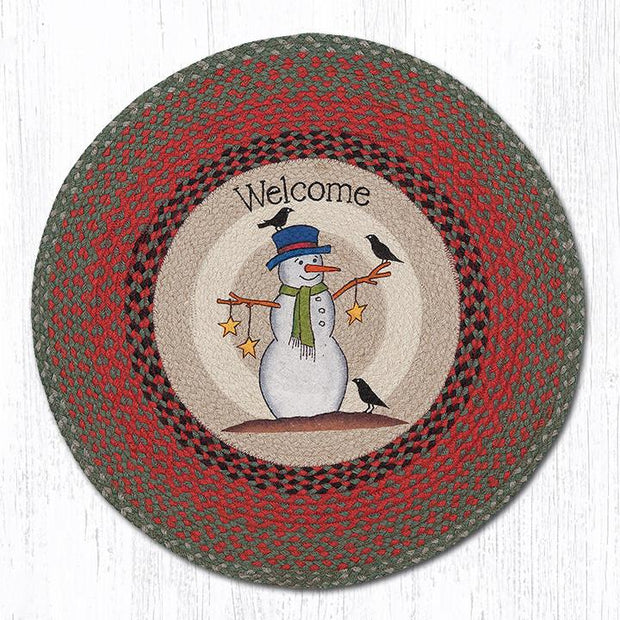"Capitol Earth Rugs Snowman with Crow Patch Rug, 27"" Round"