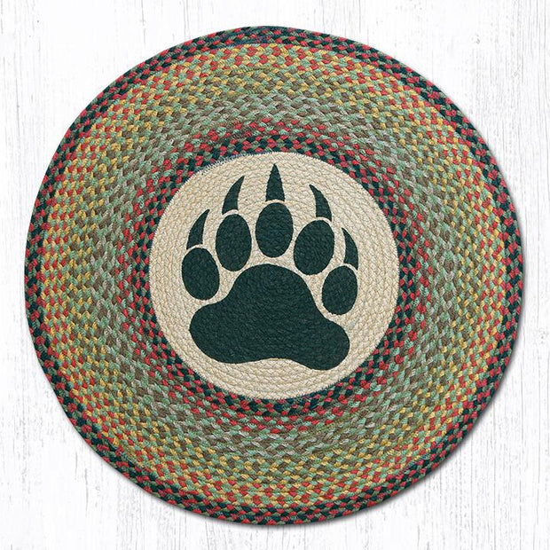 "Capitol Earth Rugs Bear Paw Printed Jute Patch Rug, 27"" Round"