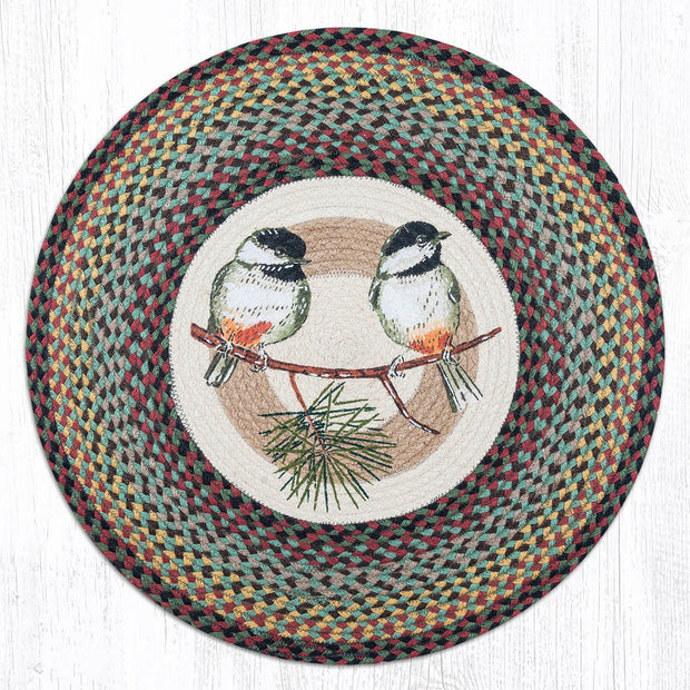 "Capitol Earth Rugs Chickadees Patch Rug, 27"" Round"