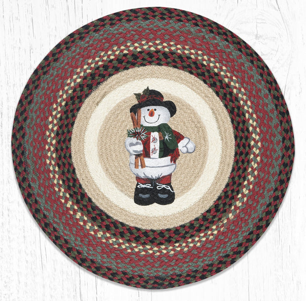 Capitol Earth Rugs Snowman in Top Hat Round Patch Rug