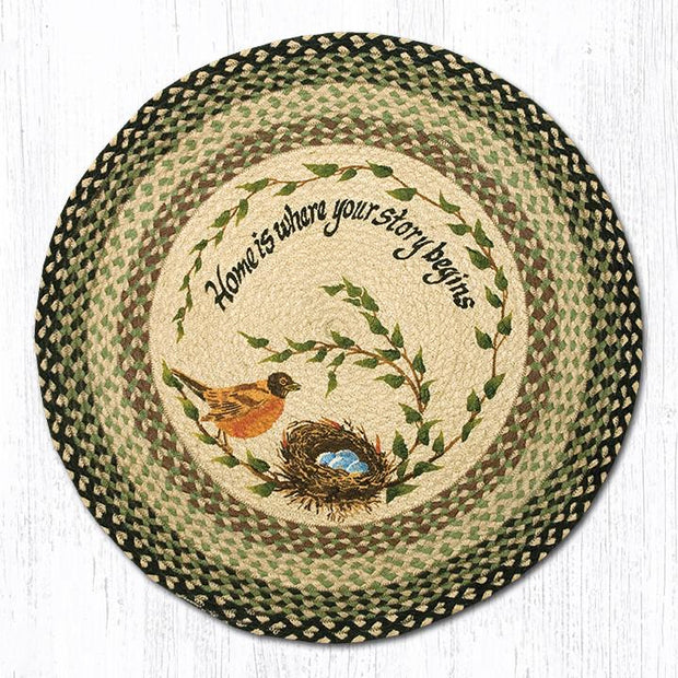"Capitol Earth Rugs Robins Nest Round Patch Rug, 27"" Round"