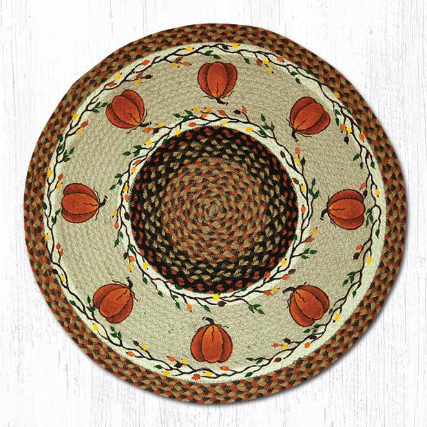 "Capitol Earth Rugs Harvest Pumpkin Patch Rug, 27"" Round"