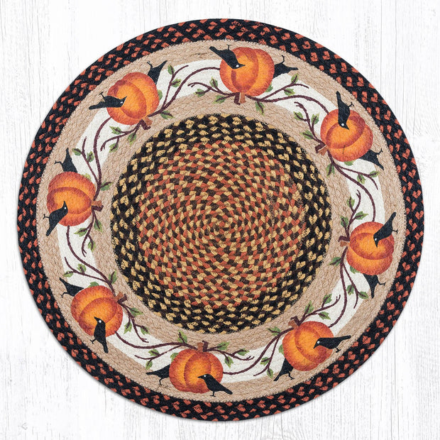 "Capitol Earth Rugs Pumpkins & Crows Round Patch Rug, 27"" Round"