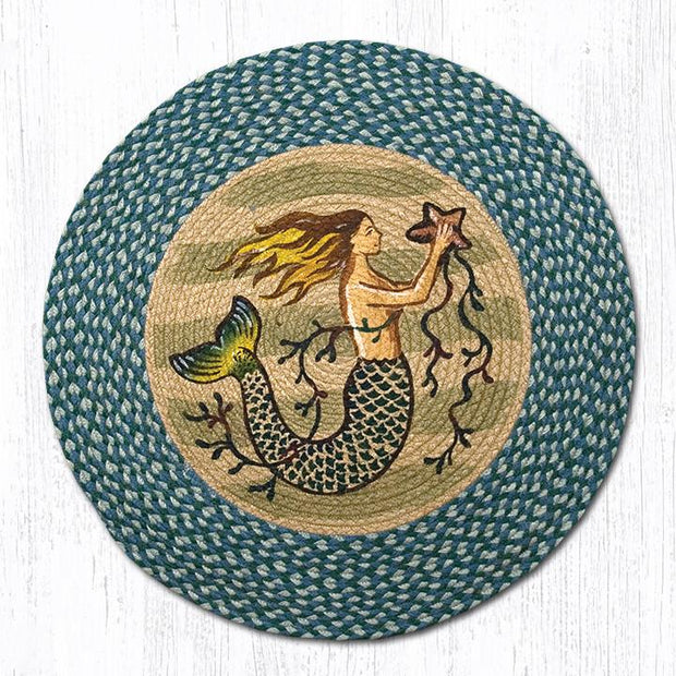 "Capitol Earth Rugs Mermaid Patch Rug, 27"" Round"