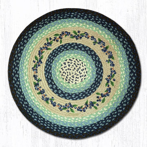 "Capitol Earth Rugs Blueberry Vine Printed Jute Patch Rug, 27"" Round"