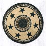 "Capitol Earth Rugs Black Stars Printed Jute Patch Rug, 27"" Round"