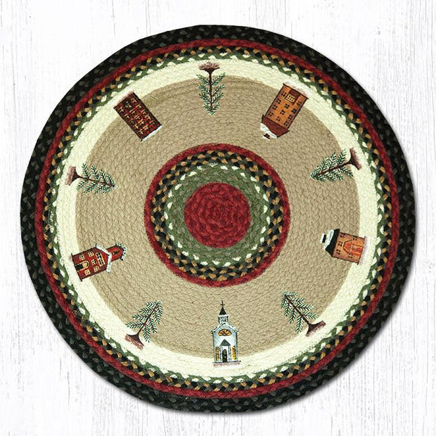 "Capitol Earth Rugs Winter Village Round Patch Rug, 27"" Round"