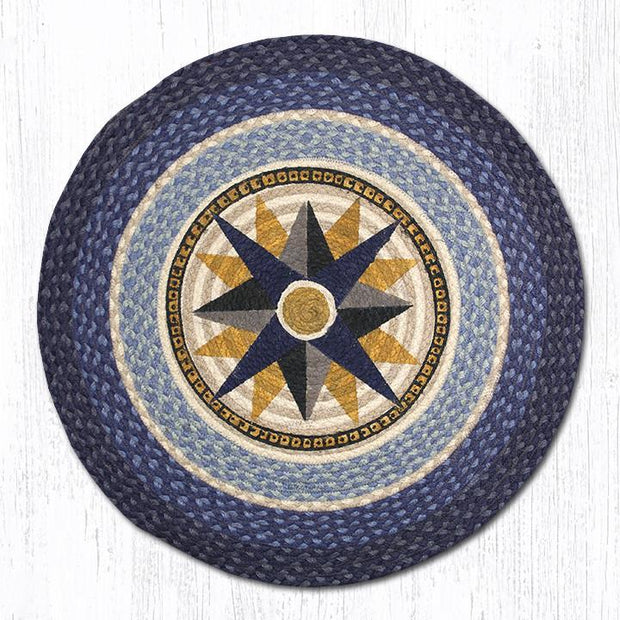"Capitol Earth Rugs Compass Round Patch Rug, 27"" Round"