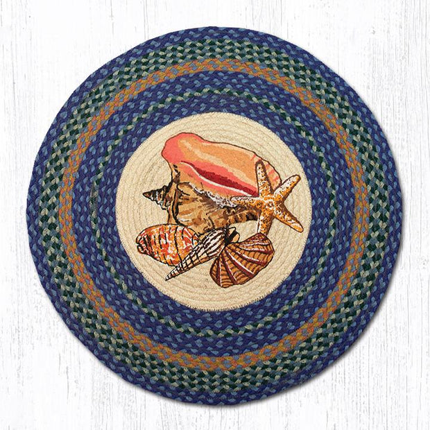 "Capitol Earth Rugs Sea Shells Round Patch Rug, 27"" Round"