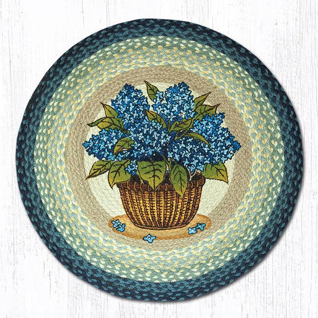 "Capitol Earth Rugs Blue Hydrangea Round Patch Rug, 27"" Round"