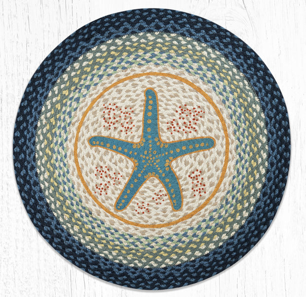Capitol Earth Rugs Blue Starfish Round Patch Rug