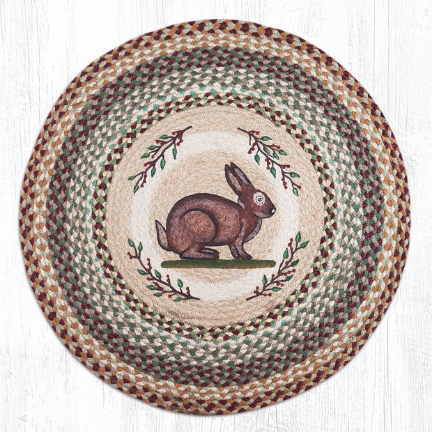 "Capitol Earth Rugs Rabbit Round Patch Rug, 27"" Round"