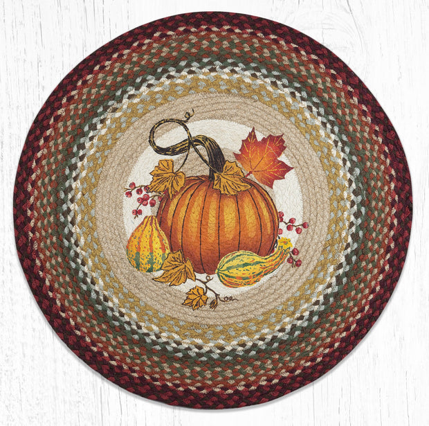 Capitol Earth Rugs Autumn Pumpkin Round Patch Rug