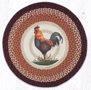 "Capitol Earth Rugs Rustic Rooster Round Patch Rug, 27"" Round"