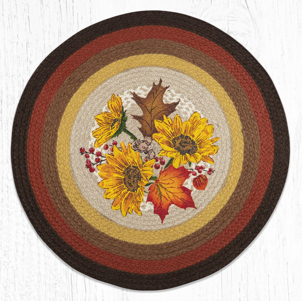 Capitol Earth Rugs Autumn Sunflowers Round Patch Rug