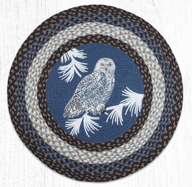 Capitol Earth Rugs Snowy Owl Round Patch Rug