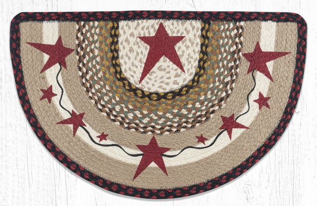 "Capitol Earth Rugs Burgundy Primitive Stars Printed Slice Rug, 18"" x 29"""