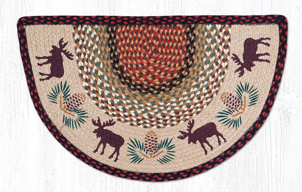 "Capitol Earth Rugs Moose & Pinecone Printed Slice Rug, 18"" x 29"""