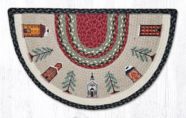 "Capitol Earth Rugs Winter Village Printed Slice Rug, 18"" x 29"""