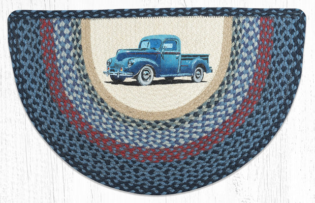 "Capitol Earth Rugs Blue Truck Printed Slice Rug, 18"" x 29"""