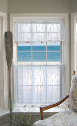 Heritage Lace Sand Shell Curtain Collection - White