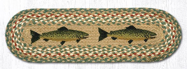 "Capitol Earth Rugs Fish Printed Jute Stair Tread, 8.25"" x 27"""