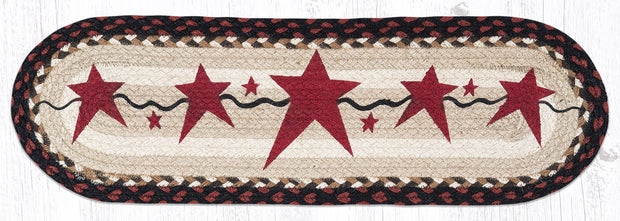"Capitol Earth Rugs Burgundy Primitive Stars Printed Jute Stair Tread, 8.5"" x 27"" Oval"