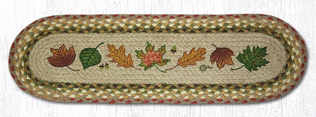 "Capitol Earth Rugs Autumn Leaves Jute Stair Tread, 8.5"" x 27"" Oval"