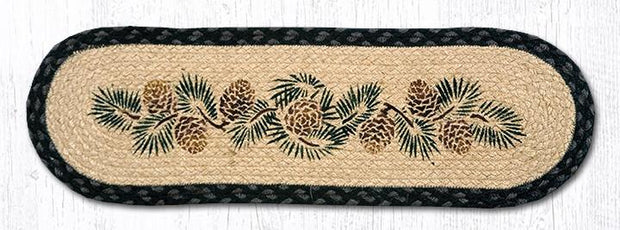 "Capitol Earth Rugs Pinecone Jute Stair Tread, 8.5"" x 27"" Oval"