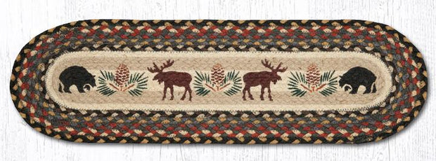"Capitol Earth Rugs Bear & Moose Jute Stair Tread, 8.5"" x 27"" Oval"