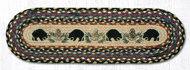 "Capitol Earth Rugs Black Bears Jute Stair Tread, 8.5"" x 27"" Oval"