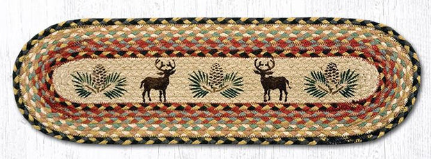 "Capitol Earth Rugs Deer & Pinecone Jute Stair Tread, 8.5"" x 27"" Oval"