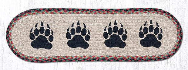 "Capitol Earth Rugs Bear Paw Jute Stair Tread, 8.5"" x 27"" Oval"