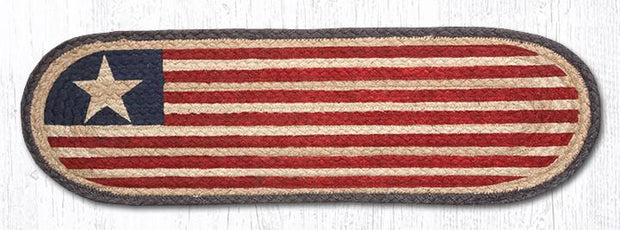 "Capitol Earth Rugs Original Flag Jute Stair Tread, 8.5"" x 27"" Oval"