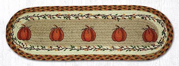 "Capitol Earth Rugs Harvest Pumpkin Jute Stair Tread, 8.5"" x 27"" Oval"