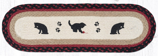 "Capitol Earth Rugs Cat & Kitten Printed Jute Stair Tread, 8.5"" x 27"" Oval"