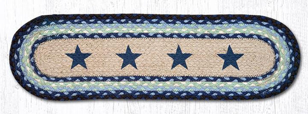 "Capitol Earth Rugs Blue Stars Jute Stair Tread, 8.5"" x 27"" Oval"
