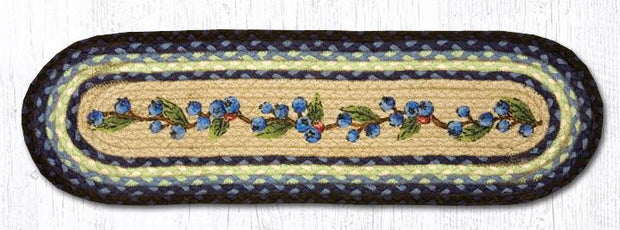 "Capitol Earth Rugs Blueberry Vine Jute Stair Tread, 8.5"" x 27"" Oval"