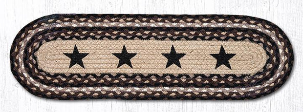 "Capitol Earth Rugs Black Stars Jute Stair Tread, 8.5"" x 27"" Oval"