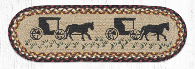 "Capitol Earth Rugs Amish Buggy Printed Jute Stair Tread, 8.5"" x 27"" Oval"