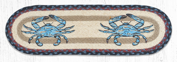 "Capitol Earth Rugs Fresh Blue Crab Printed Jute Stair Tread, 8.5"" x 27"" Oval"