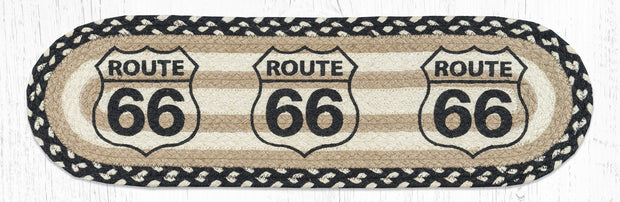 "Capitol Earth Rugs Route 66 Printed Jute Stair Tread, 8.5"" x 27"" Oval"
